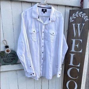 ROCK & REPUBLIC Men's White Button Up Long Sleeve